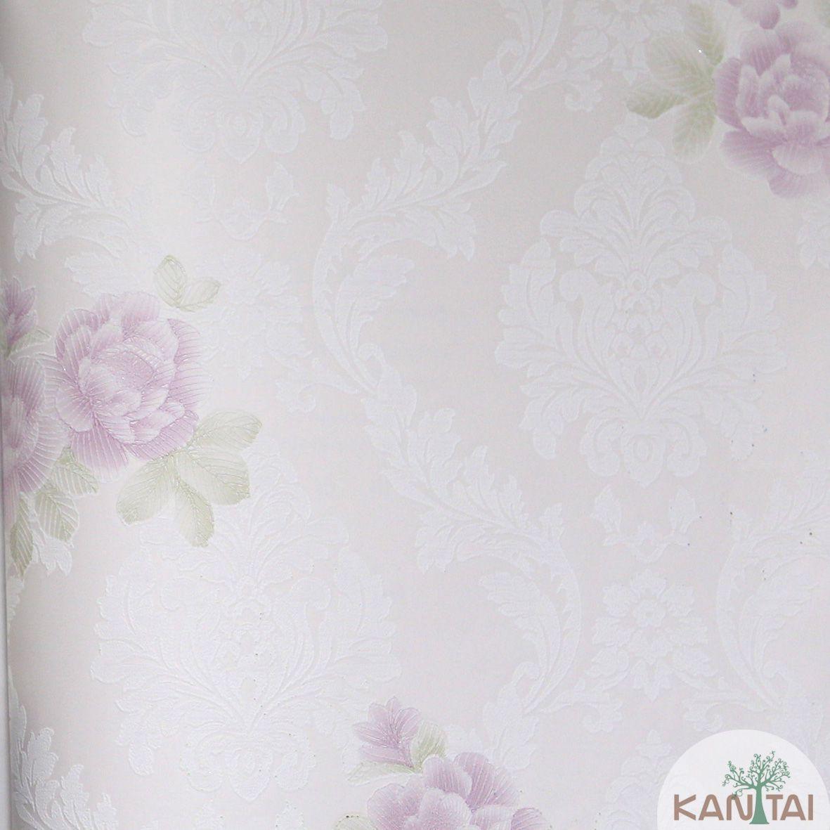Papel de Parede Importado Kantai TNT Coleção Grace Floral Arabesco Rosê, Off white, Rosa, Verde, Baixo relevo