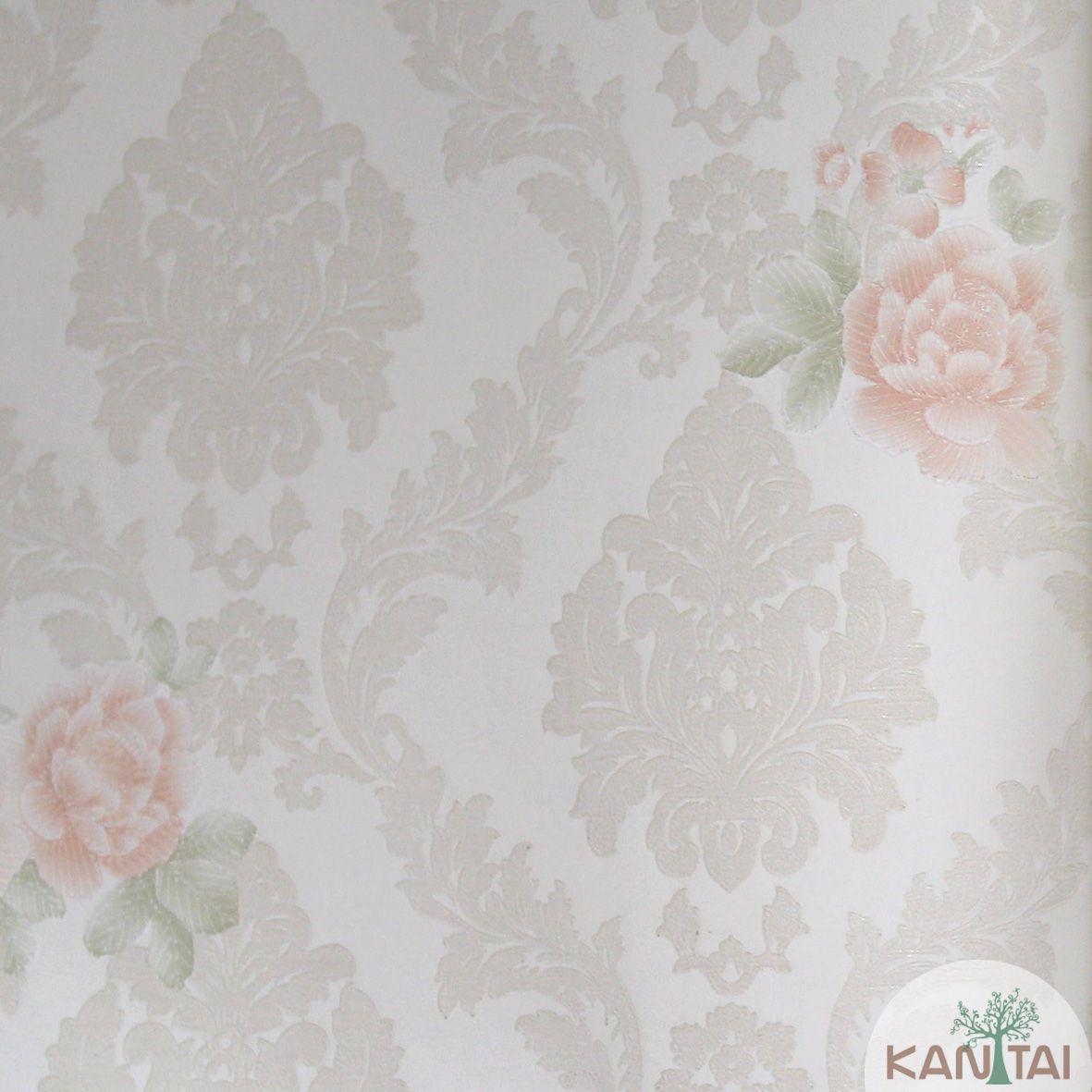 Papel de Parede Importado Kantai TNT Coleção Grace Floral Arabesco Rosas Creme, Rosa, Verde, Baixo relevo
