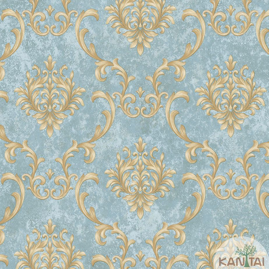 Papel de Parede Kan Tai TNT Coleção Veneza Arabesco Azul, Dourado, Alto relevo
