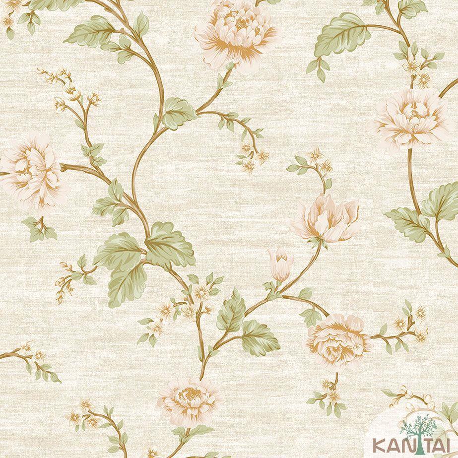 Papel de Parede Kan Tai TNT Coleção Veneza Floral Bege, Dourado, Rosa, Alto relevo