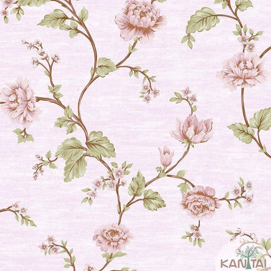 Papel de Parede Kan Tai TNT Coleção Veneza Floral Bege, Rosa, Verde, Dourado,  Alto relevo