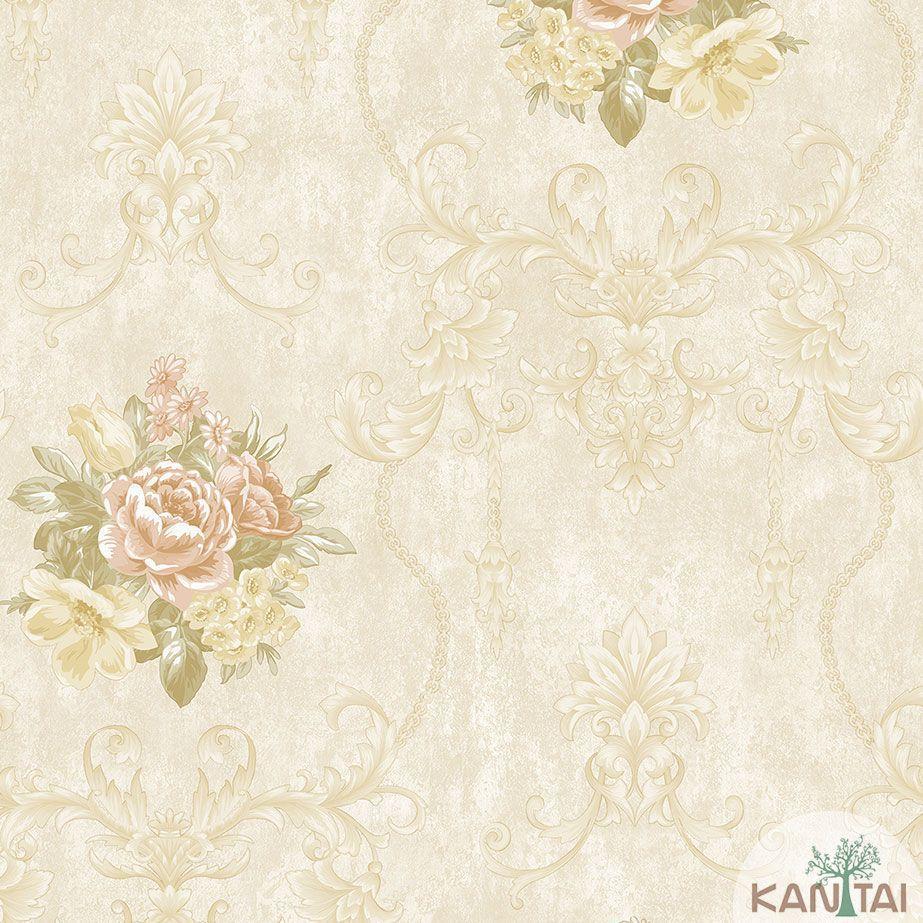 Papel de Parede Kan Tai TNT Coleção Veneza Floral Arabesco Bege, Dourado, Rosa, Alto relevo