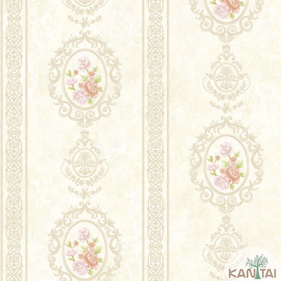 Papel de Parede Kan Tai TNT Coleção Veneza Adamascado Floral Bege claro, Dourado, Rosa, Alto relevo