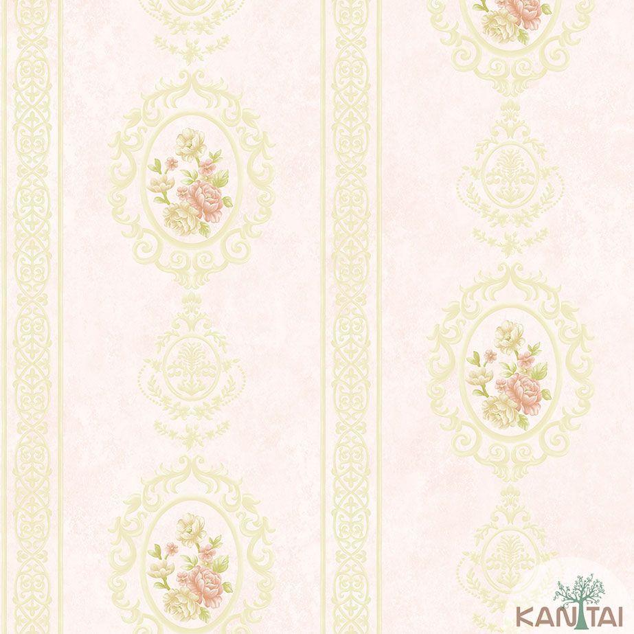 Papel de Parede Kan Tai TNT Coleção Veneza Adamascado Floral Bege, Dourado, Rosa, Alto relevo