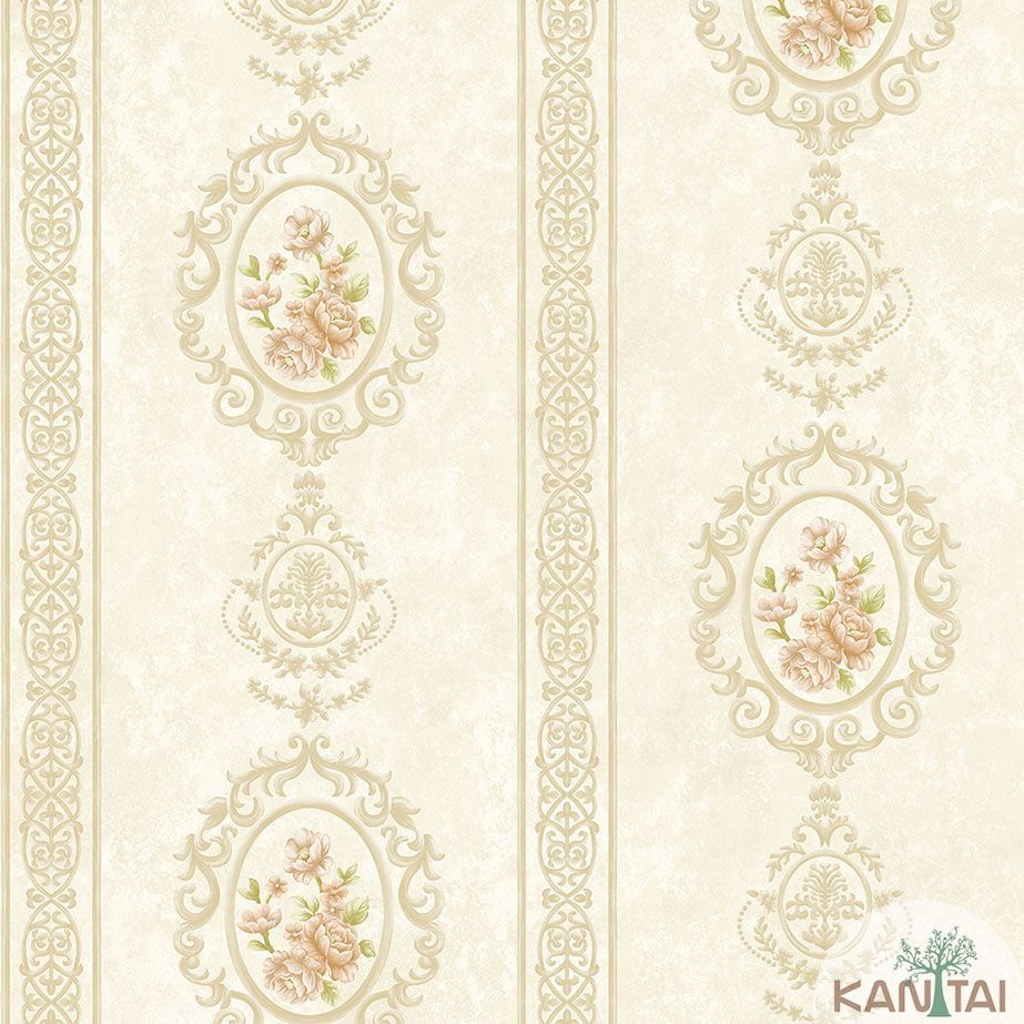 Papel de Parede Kan Tai TNT Coleção Veneza Adamascado Floral Bege, Dourado , Rosa,  Alto relevo
