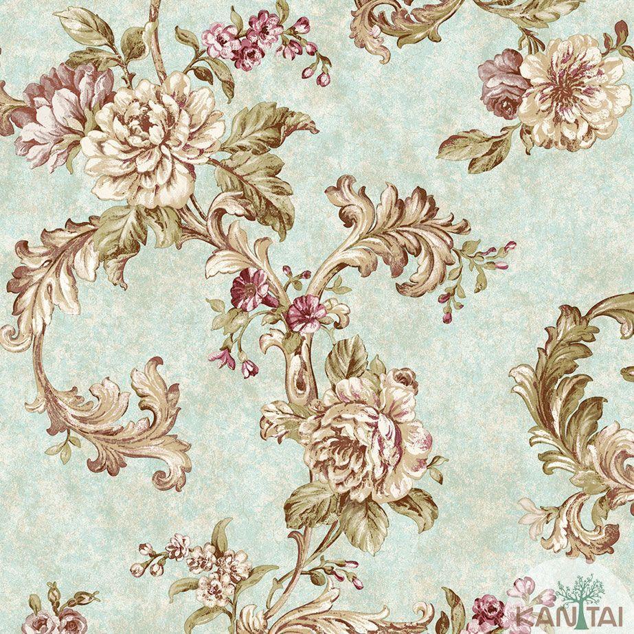 Papel de Parede Kan Tai TNT Coleção Veneza Arabesco Floral Verde claro, Lilás, Dourado,  Alto relevo