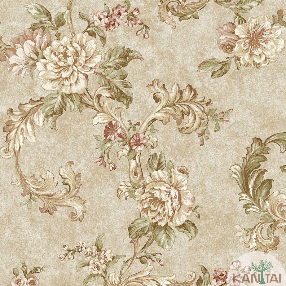Papel de Parede Kan Tai TNT Coleção Veneza Floral Arabesco Bege, Marrom, Verde, Rosa, Alto relevo