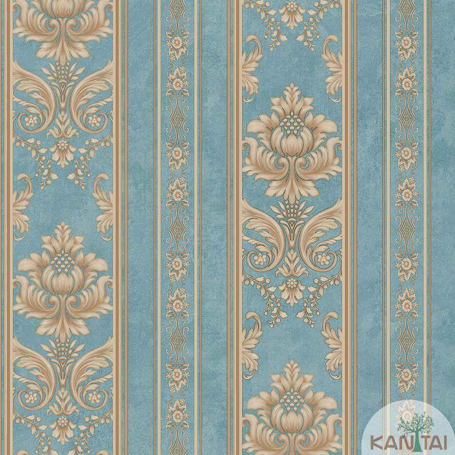 Papel de Parede Kan Tai TNT Coleção Veneza Arabesco Listrado Azul, Dourado, Alto relevo