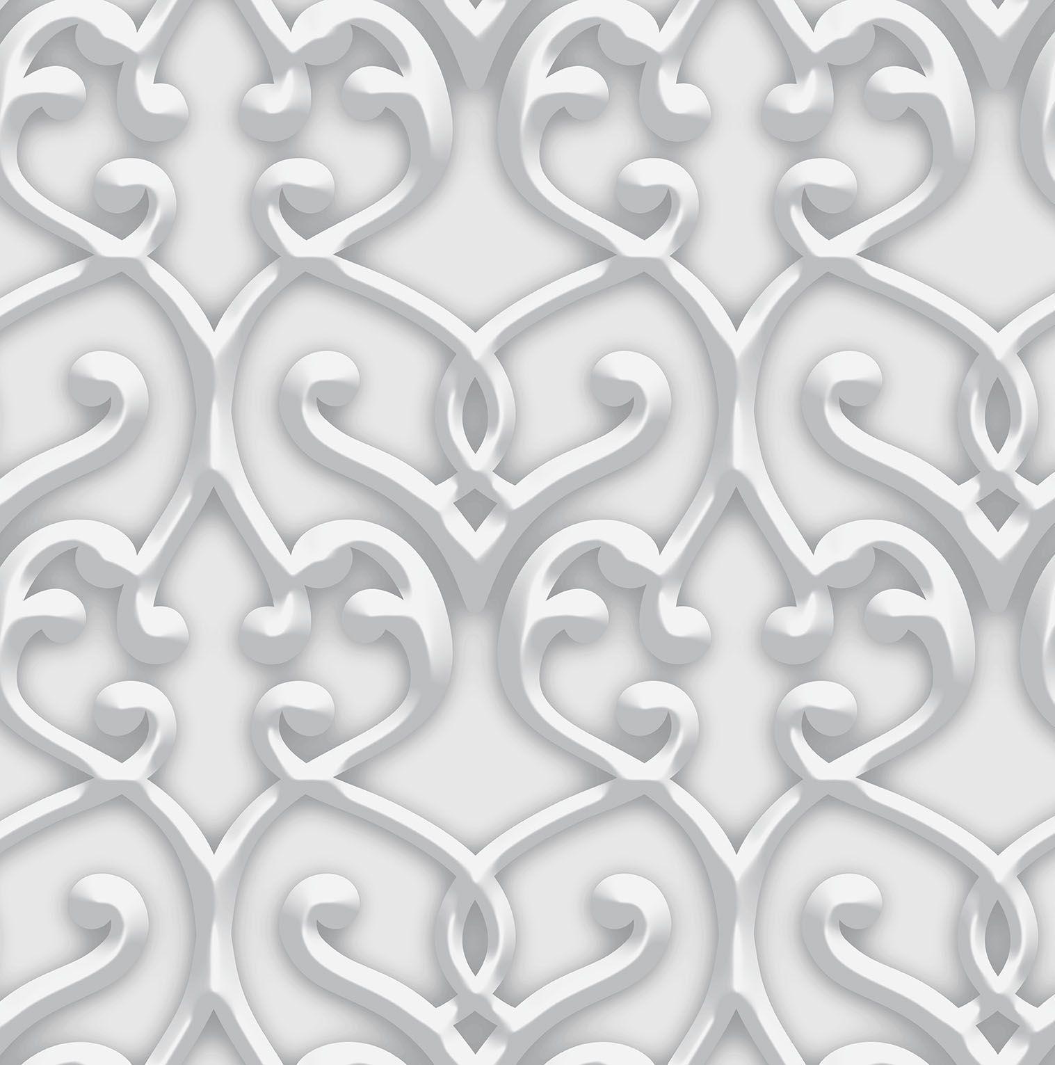 Papel de parede Bobinex Vinílico Coleção Dimensões Damask Tons cinza, Marfim
