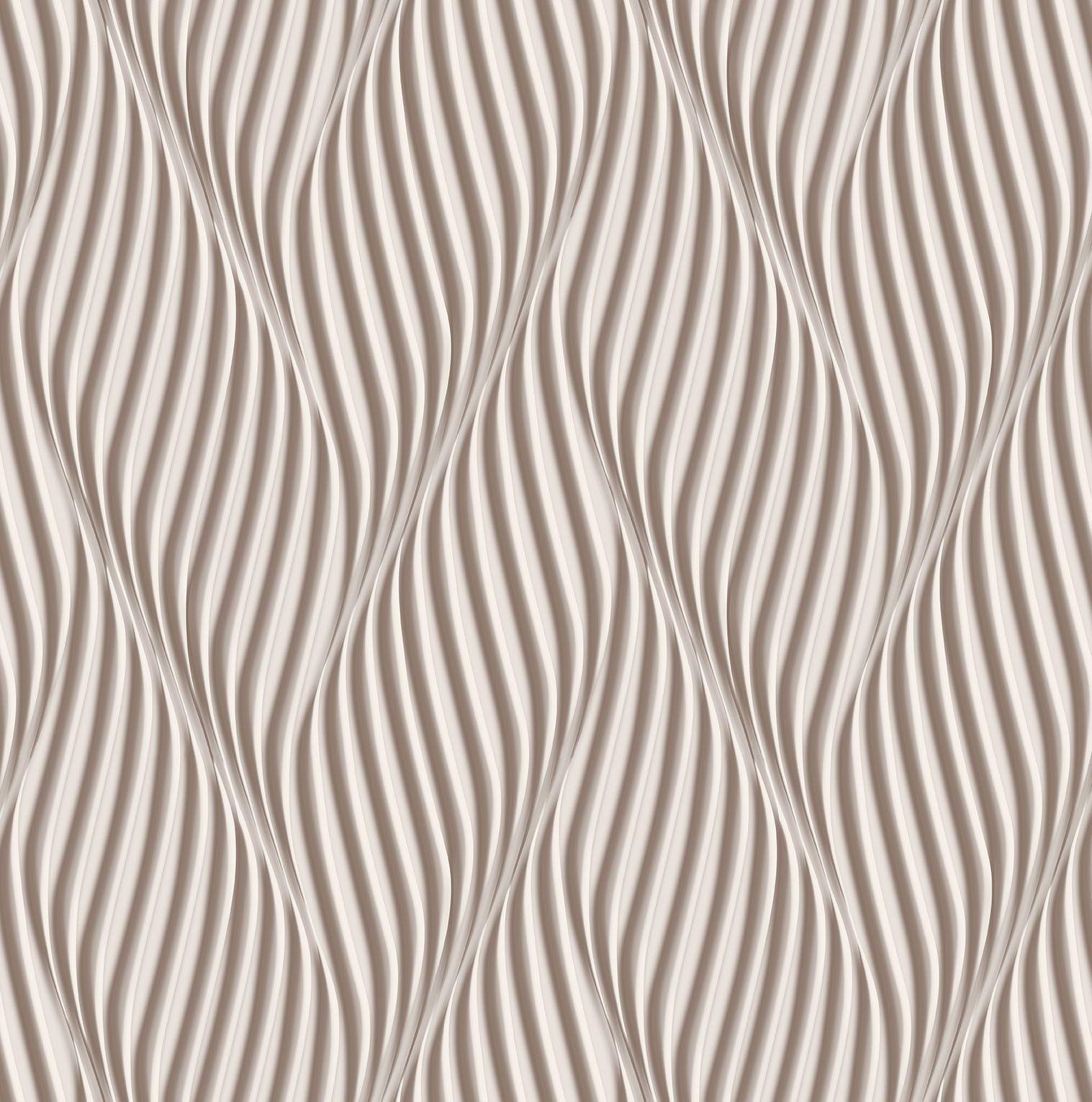 Papel de parede Bobinex Vinílico Coleção Dimensões Geométrico Espiral Marrom, Marfim