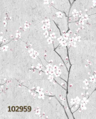 Papel de Parede Finottato Non Woven Coleção Blues Floral Cerejeira Cinza, Branco, Preto