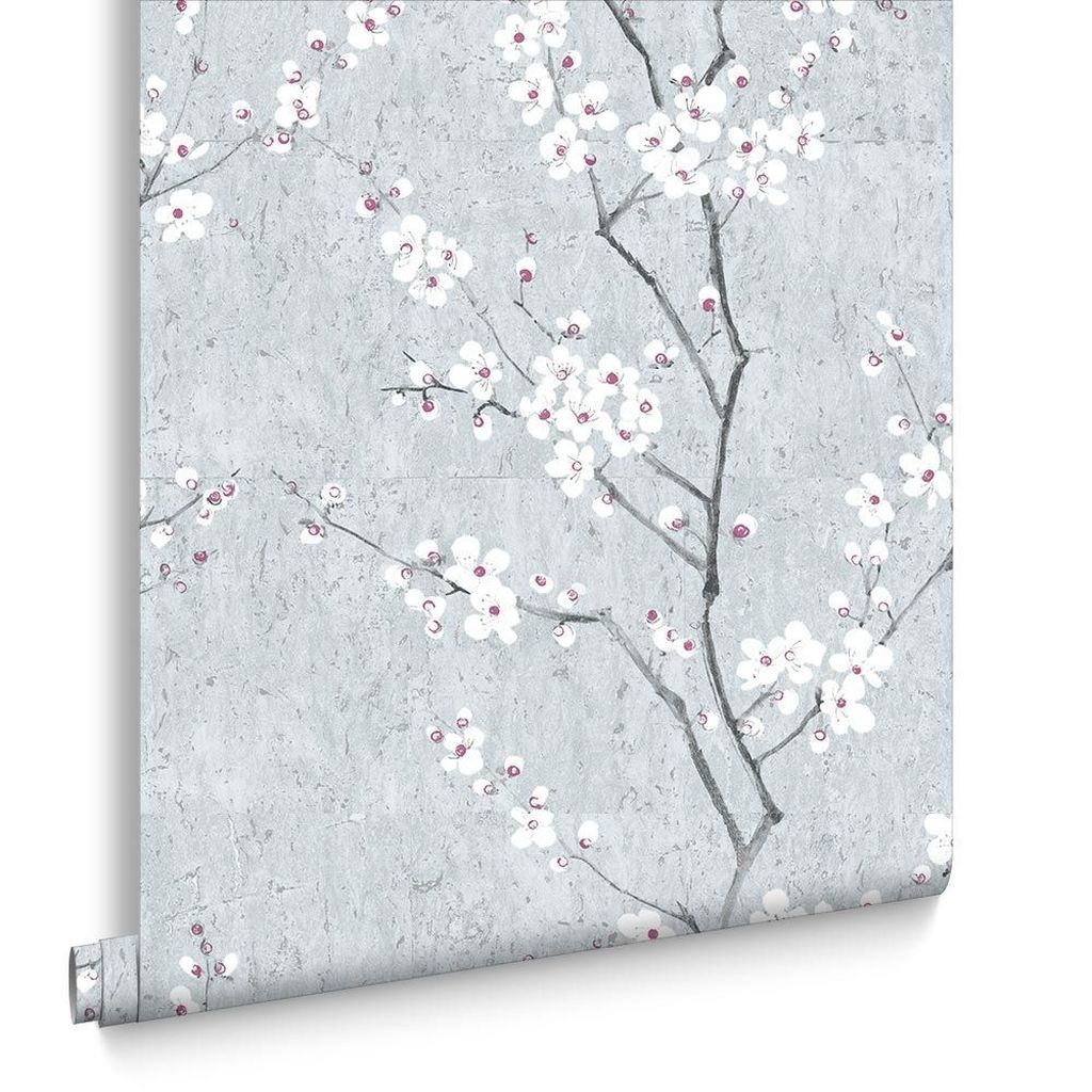 Papel de Parede Finottato Non Woven Coleção Blues Floral Cerejeira Cinza escuro, Preto, Branco