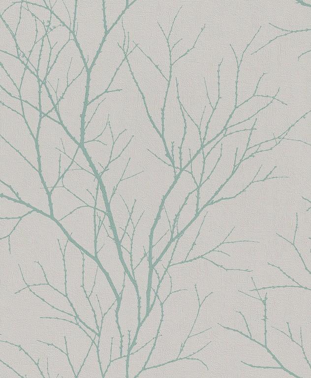 Papel de Parede Finottato Non Woven Coleção Bossa Nova Galhos secos Cinza claro, Azul turquesa