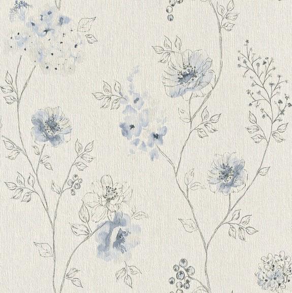 Papel de Parede Finottato Non Woven Coleção Bossa Nova Floral Aquarelado Creme, Cinza, Azul anil