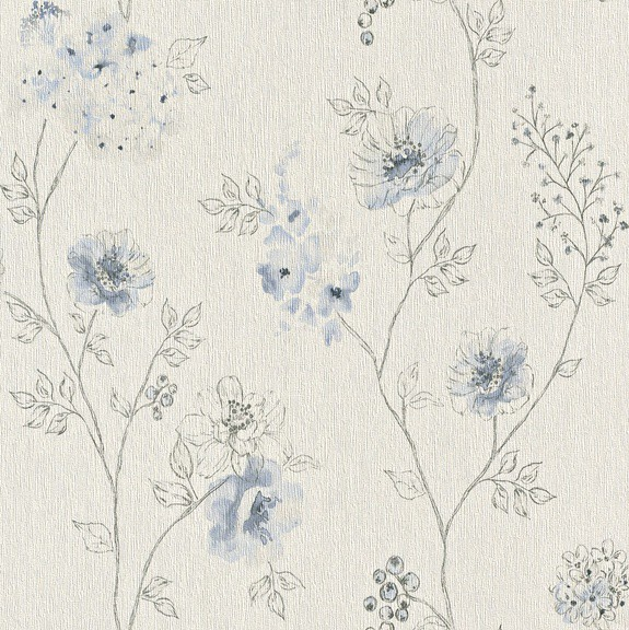 Papel de Parede Finottato Non Woven Coleção Bossa Nova Floral Creme, Tons Azul anil