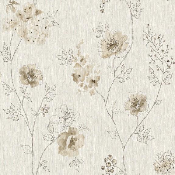 Papel de Parede Finottato Non Woven Coleção Bossa Nova Texturizado Floral Aquarelado Creme, Marrom