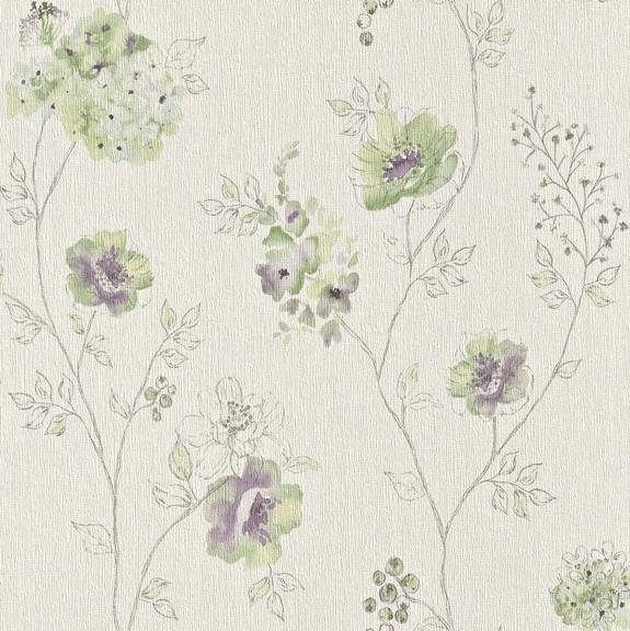 Papel de Parede Finottato Non Woven Coleção Bossa Nova Texturizado Floral Aquarelado Creme, Verde, Lilás