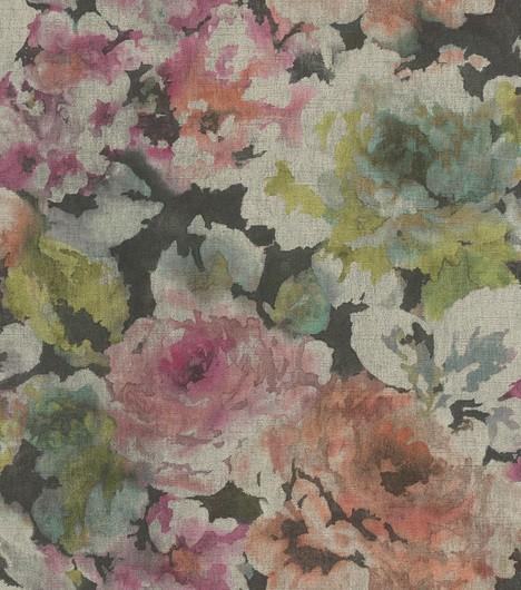 Papel de Parede Finottato Non Woven Coleção Grace Textura Tecido Aquarelado Preto, Rosa, Verde