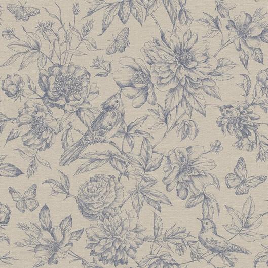 Papel de Parede Finottato Non Woven Coleção Grace Textura Tecido Floral Bege, Azul marinho