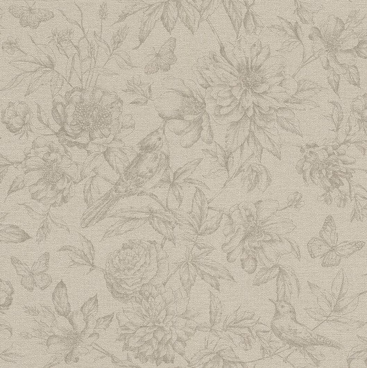 Papel de Parede Finottato Non Woven Coleção Grace Textura Tecido Floral Bege, Marrom