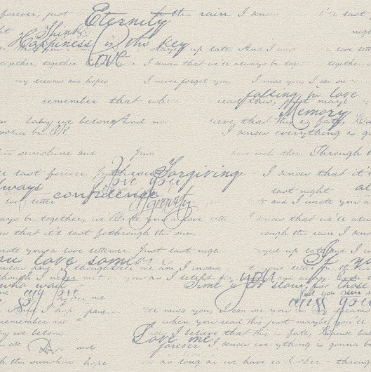 Papel de Parede Finottato Non Woven Coleção Grace Textura Tecido Frases Bege claro, Azul anil