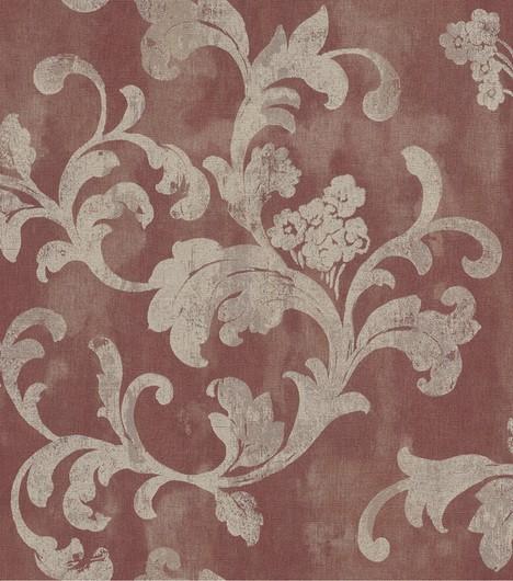 Papel de Parede Finottato Non Woven Coleção Grace Textura Tecido Vermelho estonado, Cinza