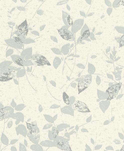 Papel de Parede Finottato Non Woven Coleção Jasmine Folhagem Azul Pastel, Off White, Brilho Prata, Baixo relevo