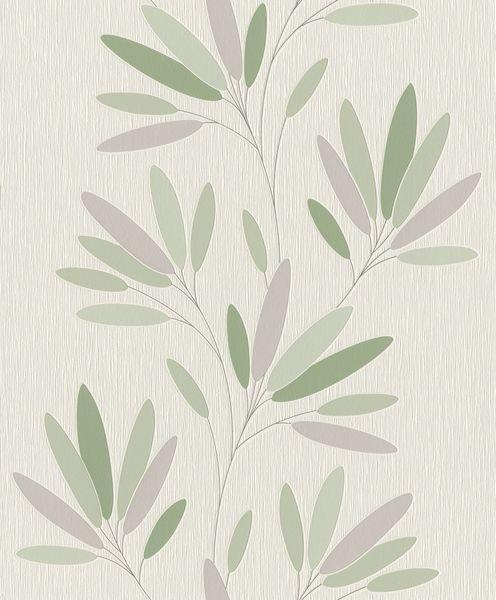 Papel de Parede Finottato Non Woven Coleção Jasmine Folhagem Branco gelo, Verde, Lilás, Baixo relevo