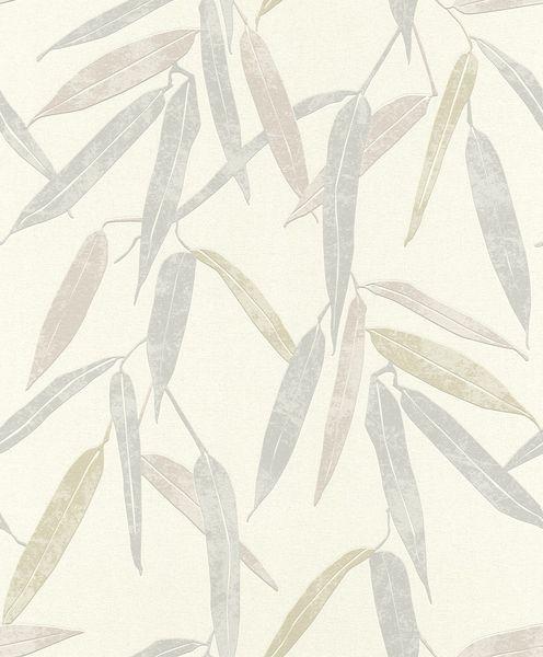 Papel de Parede Finottato Non Woven Coleção Jasmine Folhagem Cinza, Bege, Verde, baixo relevo