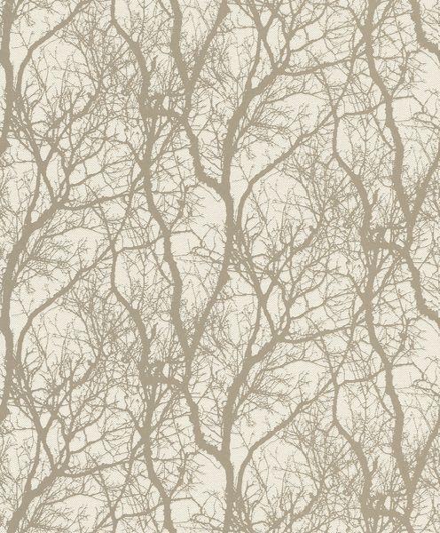 Papel de Parede Finottato Non Woven Coleção Jasmine Texturizado Galhos Perolado, Bege, Baixo relevo