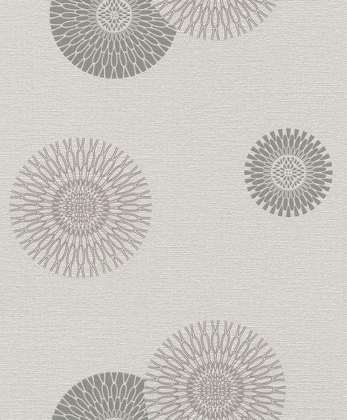Papel de Parede Finottato Non Woven Coleção Jasmine Texturizado Mandala Cinza Claro