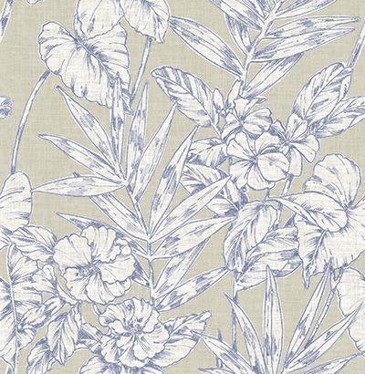 Papel de Parede Finottato Non Woven Coleção Soul Floral Textile Azul, Cinza, Branco