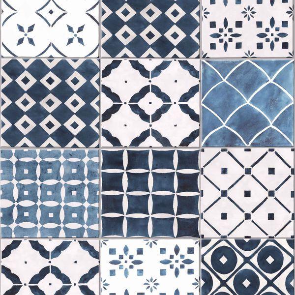 Papel de Parede Finottato Non Woven Coleção Temper Azulejo Branco, Azul