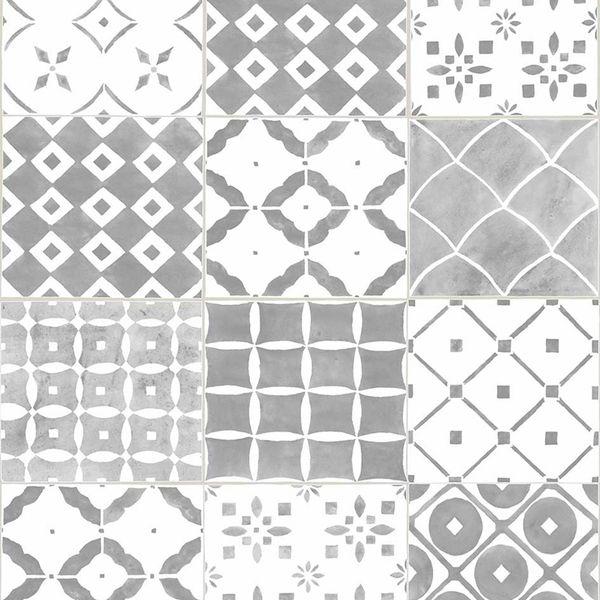 Papel de Parede Finottato Non Woven Coleção Temper Azulejo Branco, Cinza, Preto