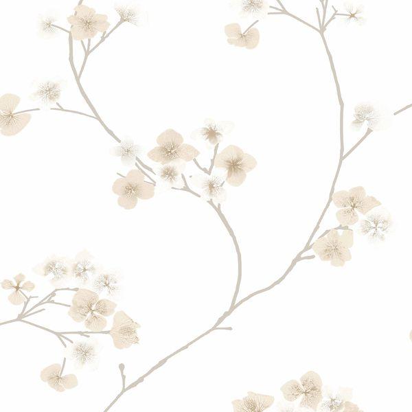 Papel de Parede Finottato Non Woven Coleção Temper Floral Branco, Bege