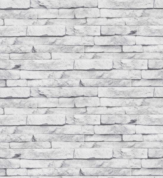 Papel de Parede Finottato Non Woven Coleção Temper Pedra Branco, Cinza
