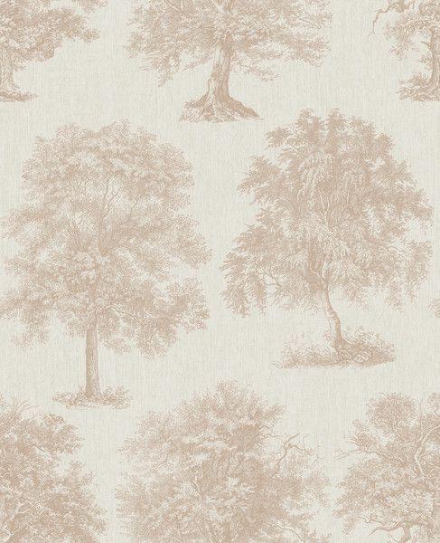 Papel de Parede Finottato Non Woven Coleção Temper Árvore encantada Bege, Dourado