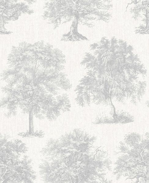 Papel de Parede Finottato Non Woven Coleção Temper Árvore encantada Cinza, Prata