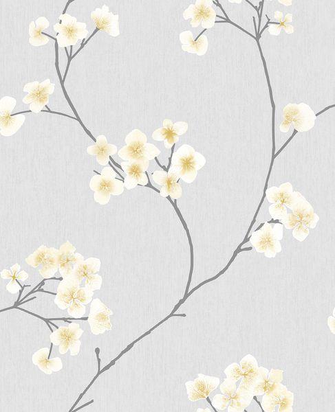 Papel de Parede Finottato Non Wowen Coleção Temper Floral Cinza, Amarelo