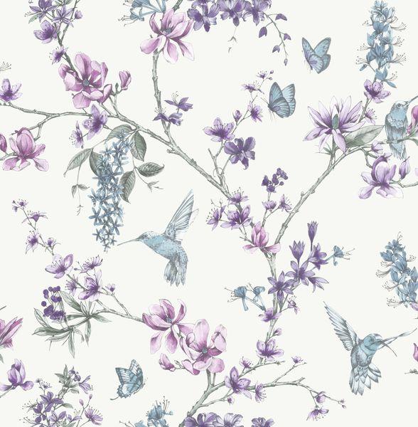 Papel de Parede Finottato Non Woven Coleção Temper Floral Beija Flor Branco, Lilás, Azul