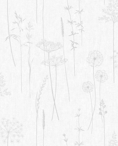 Papel de Parede Finottato Non Woven Coleção Temper  Floral Dente de Leão Cinza, Prata