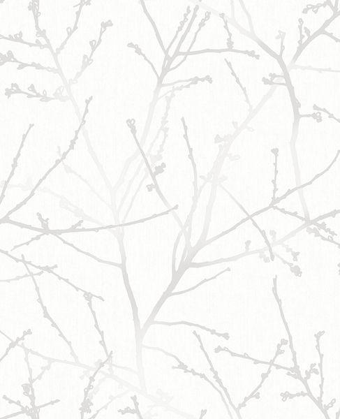 Papel de Parede Finottato Non Woven Coleção Temper Galhos Off white, Prata