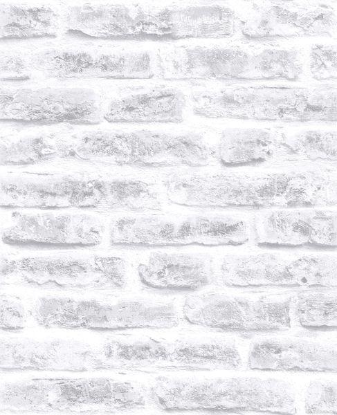 Papel de Parede Finottato Non Woven Coleção Temper Tijolo Branco, Cinza