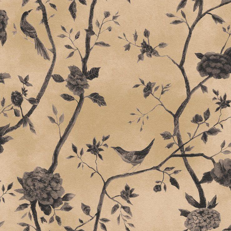 Papel de parede Coleção Natural floral pássaros bege