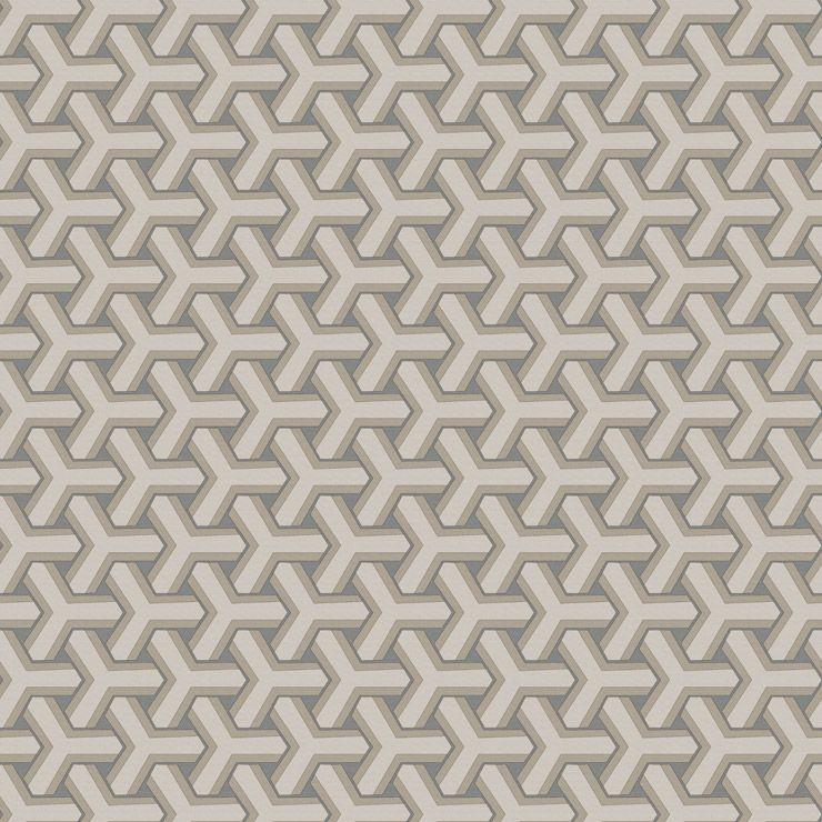 Papel de parede Coleção Diplomata geometrico boolmerang bege, cinza