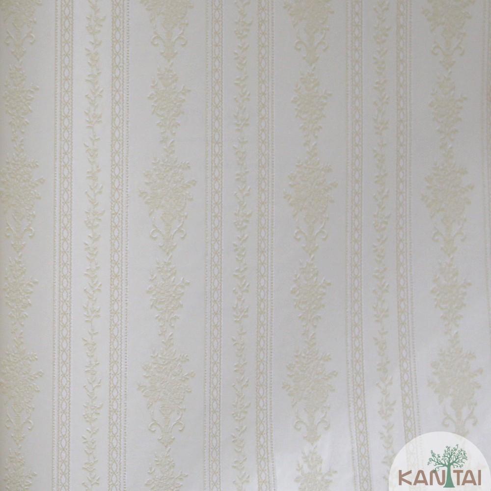 Papel de Parede Importado Kan Tai  TNT Coleção Grace Arabesco Listras Creme, Branco, Baixo relevo