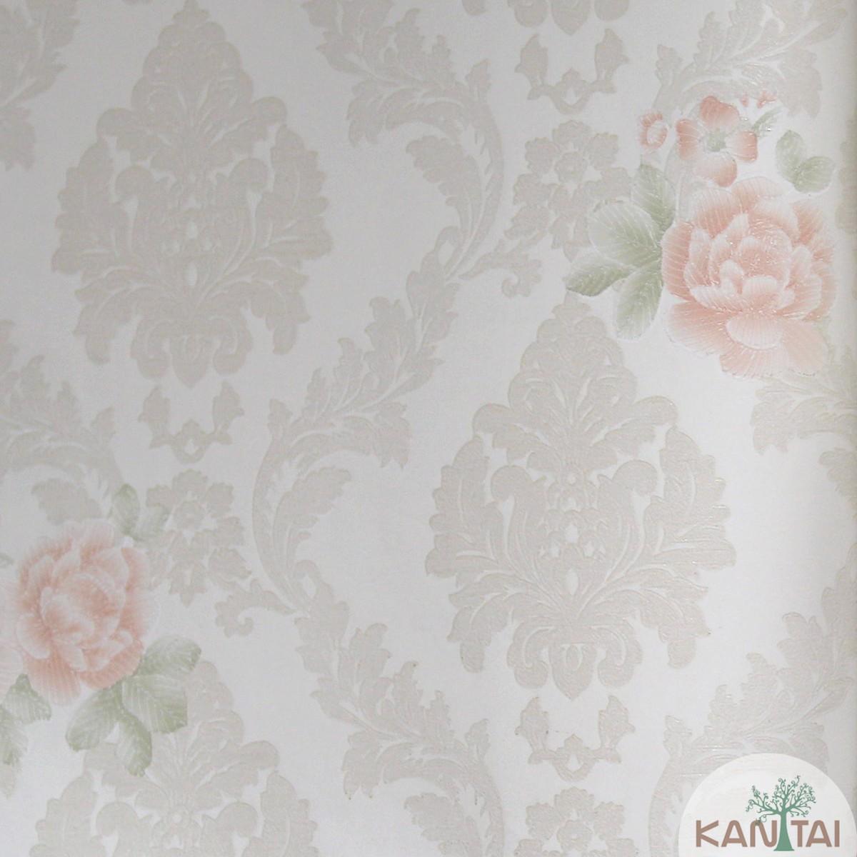 Papel de Parede Importado Kan Tai TNT Coleção Grace Floral Arabesco Rosas Creme, Rosa, Verde, Baixo relevo