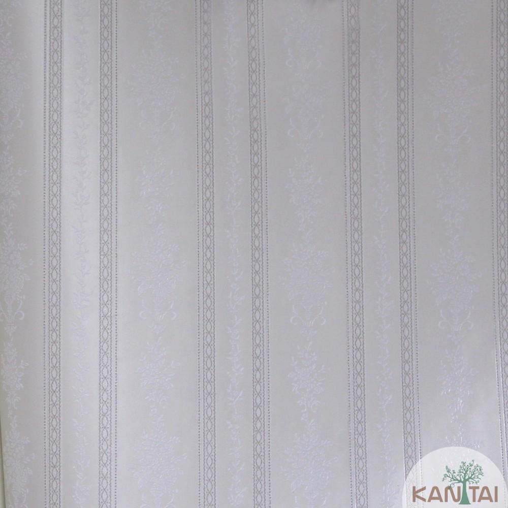 Papel de Parede Importado Kan Tai TNT Coleção Grace Floral Listras Creme, Off white, Baixo relevo
