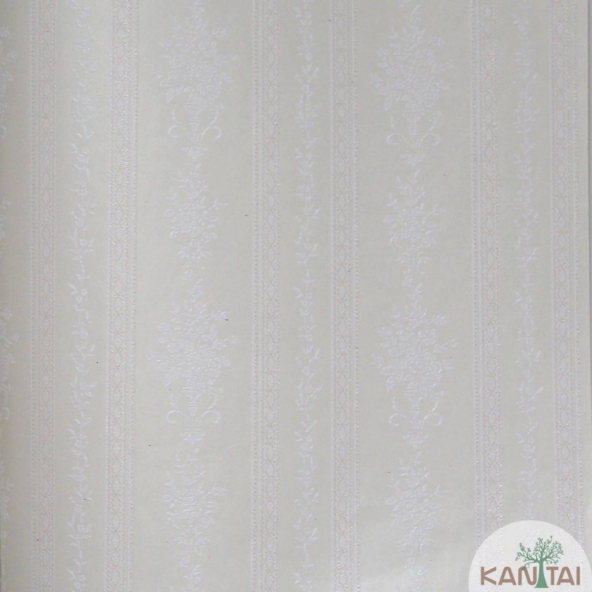 Papel de Parede Importado Kan Tai TNT Coleção Grace Floral Listrado Tons creme, Baixo relevo