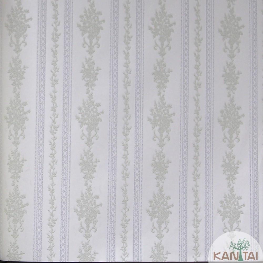 Papel de Parede Importado Kan Tai TNT Coleção Grace Floral listras Tons verde, Off white, Baixo relevo